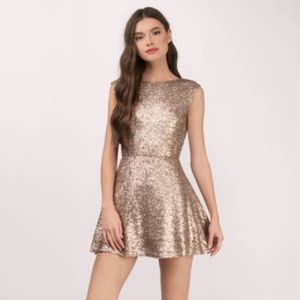 Brand New Tobi - VINA MATTE GOLD SKATER DRESS